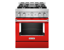 KitchenAid 30'' Smart Commercial-Style Gas Range with 4 Burners in Passion Red KFGC500JPA