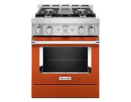 KitchenAid 30'' Smart Commercial-Style Gas Range with 4 Burners in Scorched Orange KFGC500JSC