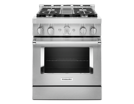 KitchenAid 30'' Smart Commercial-Style Gas Range with 4 Burners in Stainless Steel KFGC500JSS