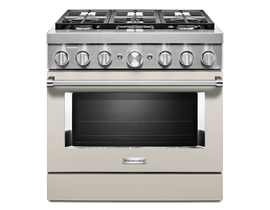KitchenAid 36'' Smart Commercial-Style Gas Range with 6 Burners in Matte Milkshake KFGC506JMH