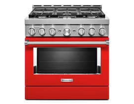 KitchenAid 36 inch 5.1 cu. ft. Smart Commercial-Style Gas Range with 6 Burners in Passion Red KFGC506JPA