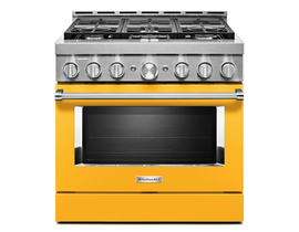 KitchenAid 36'' Smart Commercial-Style Gas Range with 6 Burners in Yellow Pepper KFGC506JYP