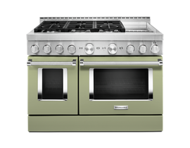 KitchenAid 48'' Smart Commercial-Style Gas Range with Griddle in Matte Avocado KFGC558JAV