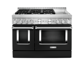 KitchenAid 48'' Smart Commercial-Style Gas Range with Griddle in Imperial Black KFGC558JBK