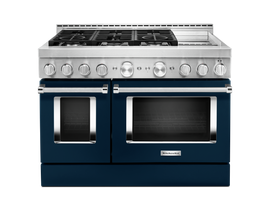 KitchenAid 48'' Smart Commercial-Style Gas Range with Griddle in Ink Blue KFGC558JIB