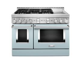 KitchenAid 48 inch 6.3 cu. ft. Smart Commercial-Style Gas Range with Griddle in Misty Blue KFGC558JMB