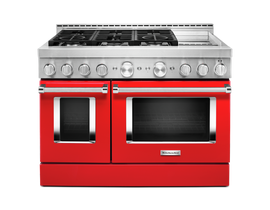 KitchenAid 48 inch 6.3 cu. ft. Smart Commercial-Style Gas Range with Griddle in Passion Red KFGC558JPA