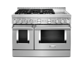 KitchenAid 48'' Smart Commercial-Style Gas Range with Griddle in Stainless Steel KFGC558JSS
