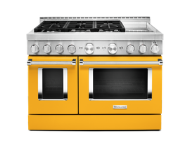 KitchenAid 48'' Smart Commercial-Style Gas Range with Griddle in Yellow Pepper KFGC558JYP