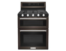 KitchenAid® 30-Inch 5 Burner Gas Double Oven Convection Range KFGD500EBS