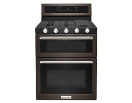 KitchenAid® 30-Inch 5 Burner Gas Double Oven Convection Range KFGD500EBS