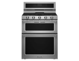 KitchenAid 30 inch 6.0 cu. ft. Double Oven Covnection Gas Range in Stainless Steel KFGD500ESS