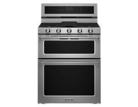 KitchenAid® 30-Inch 5 Burner Gas Double Oven Convection Range KFGD500ESS