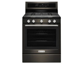 KitchenAid 30 Inch 5.8 cu.ft. 5-Burner Gas Convection Range in black stainless steel KFGG500EBS