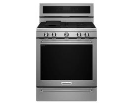 KitchenAid 30 inch 5.8 cu.ft. 5 burner gas convection range with warming drawer in stainless steel KFGS530ESS