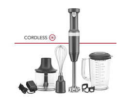 KitchenAid Variable Speed Cordless Hand Blender w/ Accessories in Charcoal Grey KHBBV83DG