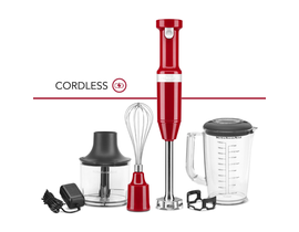 KitchenAid Variable Speed Cordless Hand Blender w/ Accessories in Empire Red KHBBV83ER
