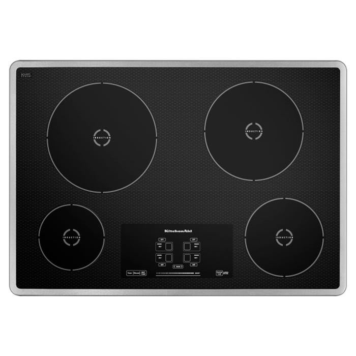KitchenAid 30 inch induction cooktop with 4 elements and touch activated controls in stainless steel KICU500XSS