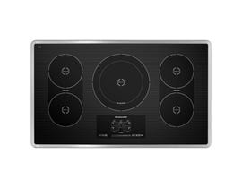 KitchenAid 36 inch induction cooktop with 5 elements touch activated controls and power slider in stainless steel KICU569XSS