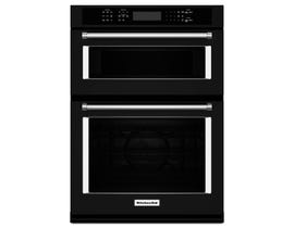 KitchenAid 30 inch 6.4 cu.ft. combination Microwave wall oven with even heat true convection lower oven in Black KOCE500EBL