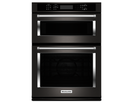 "KitchenAid 30"" 6.4 cu. ft. Combination Wall Oven with Even-Heat in Black Stainless Steel KOCE500EBS"