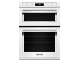KitchenAid 30 inch 6.4 cu.ft. combination wall oven true convection lower oven in white KOCE500EWH