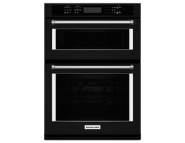 KitchenAid 27 inch 5.7 cu.ft. combination wall oven with true convection in Black KOCE507EBL