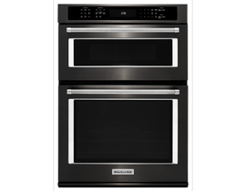 KitchenAid 27 inch 5.7 cu. ft. Combination Wall Oven with Even-Heat in Black Stainless Steel KOCE507EBS