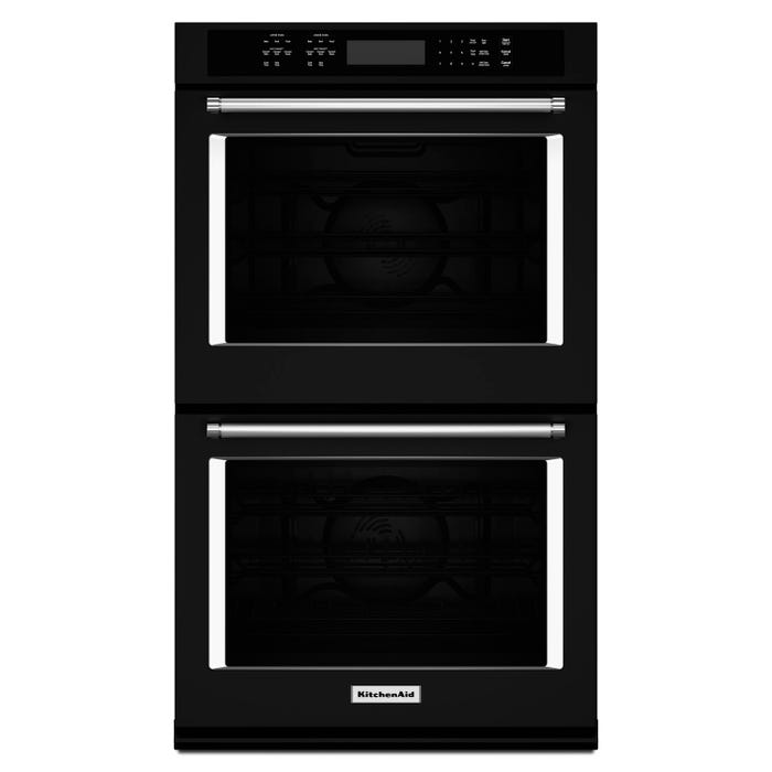 KitchenAid 30 inch 10.0 cu.ft. double wall oven with even heat true convection in black KODE500EBL