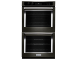 KitchenAid 27 inch 8.6 cu. ft. Double Wall Oven with Even-Heat True Convection in Black Stainless Steel KODE507EBS