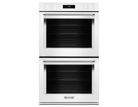KitchenAid 27 inch 8.6 cu.ft. double wall oven with even heat true convection in white KODE507EWH