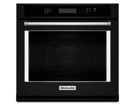 KitchenAid 30 inch 5.0 cu.ft. single wall oven with even heat true convection self clearning in black KOSE500EBL