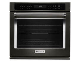 KitchenAid 30 inch 5.0 cu.ft. Single Wall Oven with Even-Heat True Convection in black stainless steel KOSE500EBS