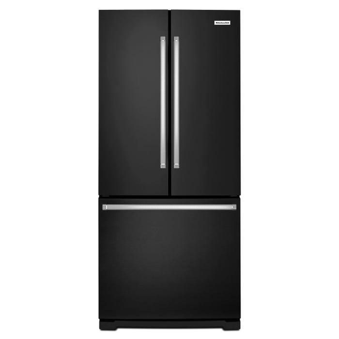 KitchenAid 36 Inch wide 20 cu.ft. counter depth french door refrigerator in black KRFC300EBL