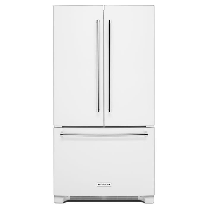 KitchenAid® 20 cu. ft. 36-Inch Width Counter-Depth French Door Refrigerator with Interior Dispense KRFC300EWH