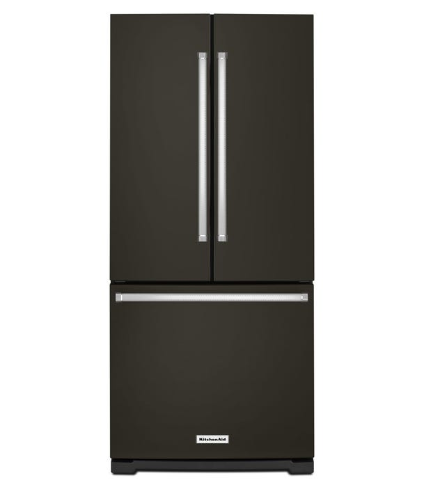 KitchenAid 30-Inch 19.7 cu.ft. Wide French Door Refrigerator in black stainless KRFF300EBS