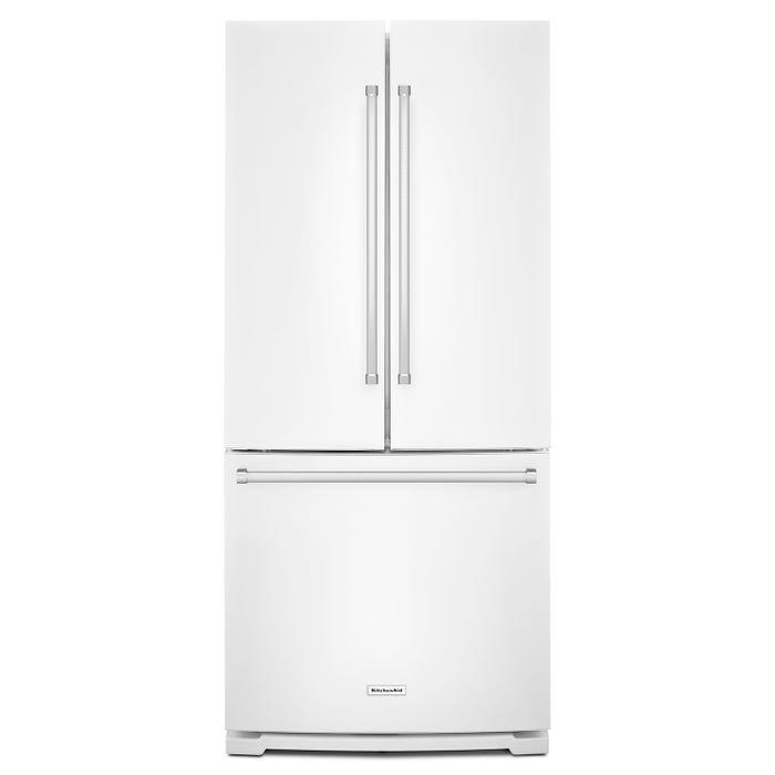 KitchenAid® 20 cu. Ft. 30-Inch Width Standard Depth French Door Refrigerator with Interior Dispense KRFF300EWH