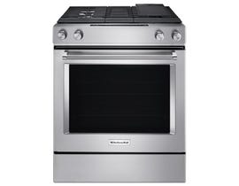 KitchenAid 30 inch 6.4 cu.ft. 4 burner dual fuel downdraft range in stainless steel KSDG950ESS