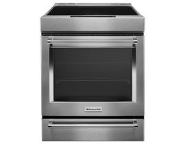 KitchenAid 30 inch 7.1 cu.ft. 4 element induction convection  range with baking drawer in stainless steel KSIB900ESS