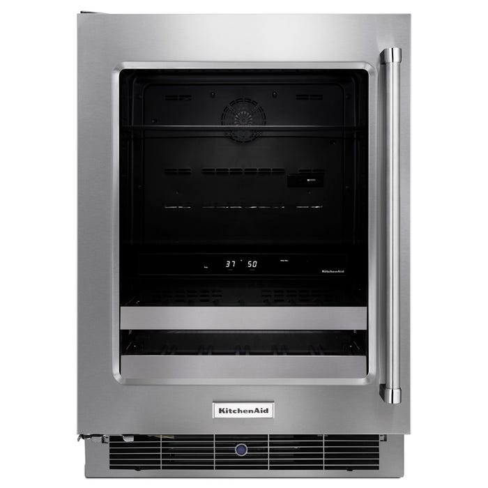 Kitchenaid 24 inch 4.8 cu.ft beverage center with satinglider metal front racks in stainless KUBL304ESS
