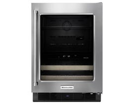 KitchenAid 24 inch 4.8 cu.ft beverage cellar with glass door and wood front racks in stainless steel KUBR204ESB