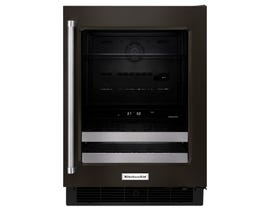 KitchenAid 24 inch 4.8 cu.ft. double zone beverage center with SatinGlide metal front racks in black stainless KUBR304EBS