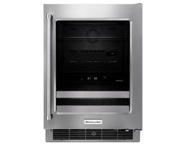 Kitchenaid 24 inch beverage center with satinglider metal front racks in stainless KUBR304ESS