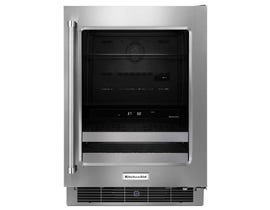 KitchenAid 24 inch Stainless Steel Right Swing Beverage Center with SatinGlide® Metal-Front Racks KUBR304ESS