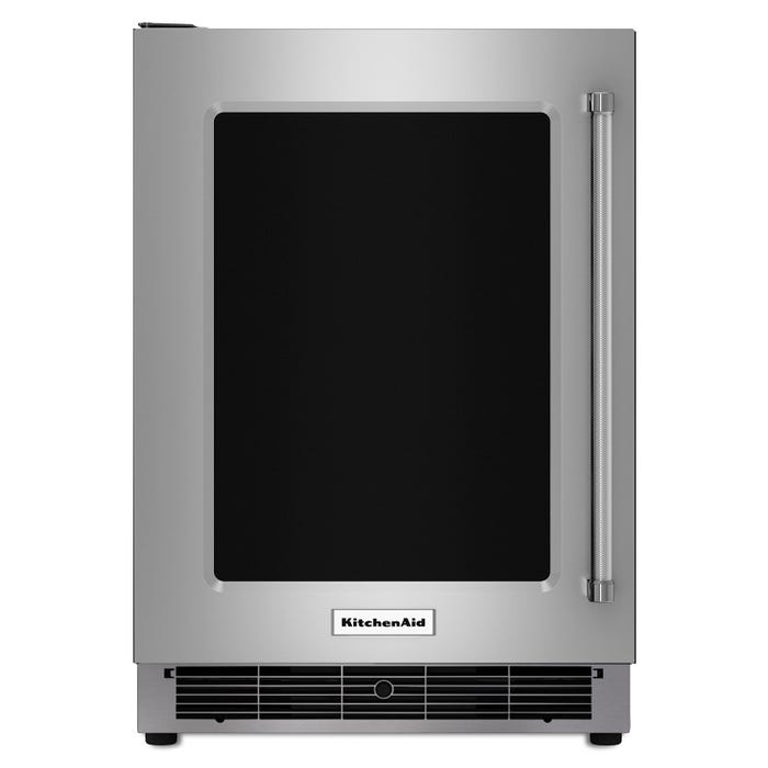 KitchenAid 24 inch 4.7 cu.ft. undercounter refrigerator with metal front glass shelves in stainless steel KURL304ESS