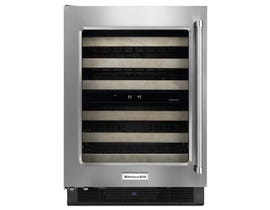 KitchenAid 24 inch Stainless Steel Wine Cellar with Left Swing Glass Door and Wood-Front Racks KUWL204ESB