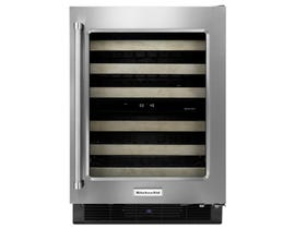 KitchenAid 24 inch Stainless Steel Wine Cellar with Right Swing Glass Door and Wood-Front Racks KUWR204ESB