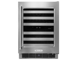 KitchenAid 24 inch Wine Cellar with Right Swing Glass Door and Metal-Front Racks KUWR304ESS
