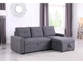 Kwality Luthor Linen Fabric 2pc Reversible Pull-out Sleeper Sectional in Grey KW-2081