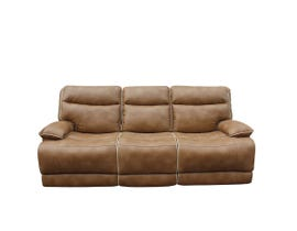 PR Furniture Lanette Leather Gel Power Reclining Sofa in Caramel 3754